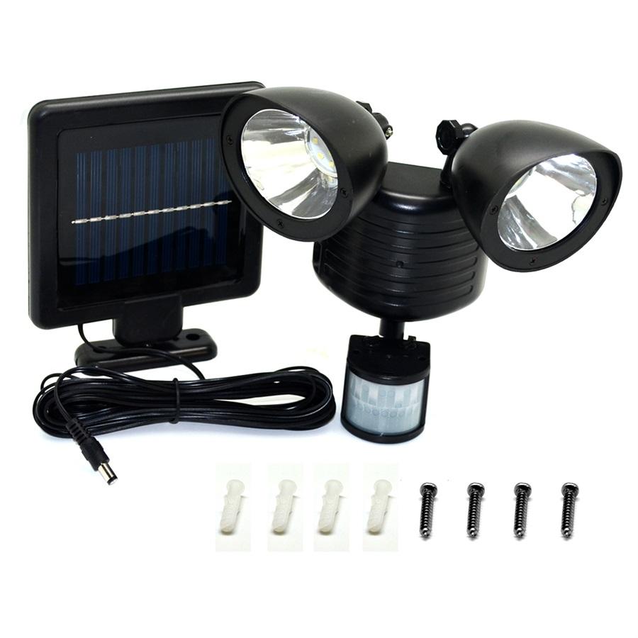 Fantastisk LED Lysdæmper & Sensor / Lamper : LED Solar Light Twin hoved PIR RW43