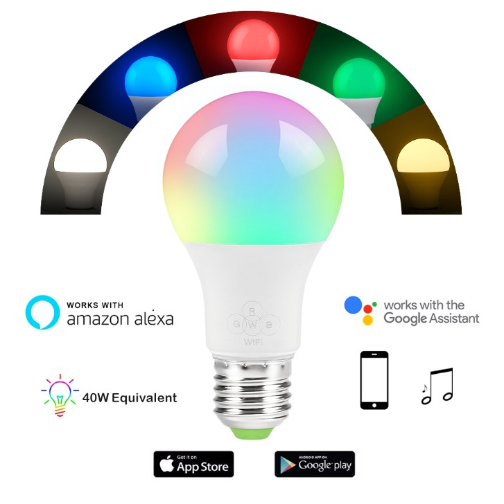 Ny Smart pære E27 RGBW 4,5W LED dæmpbar WiFi til Google Assistant CR93
